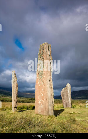 Neolithic Standing Stones at Machrie Moor dating from the Bronze Age. - Stock Photo