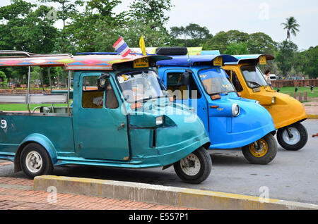 Tuk tuks in Ayutthaya, Thailand - Stock Photo