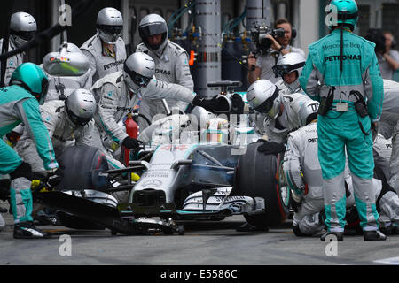 Hockenheim, Germany. 20th July, 2014. British Formula One driver Lewis Hamilton from team Mercedes AMG does a pit - Stock Photo