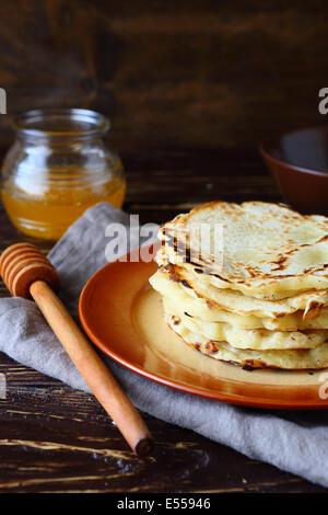 simple rustic pancakes on plate, food closeup - Stock Photo