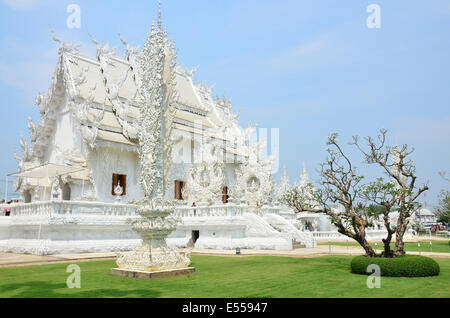 Buddhist-Hindu temple complex Wat Rong Khun, Thailand - Stock Photo