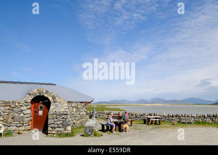 The Temple cafe with scenic view overlooking a small sea lock. Northton, Isle of Harris Outer Hebrides Western Isles - Stock Photo