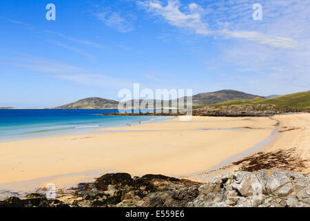 View across Traigh Lar beach to Isle of Taransay on west coast Horgabost Isle of Harris Outer Hebrides Western Isles - Stock Photo