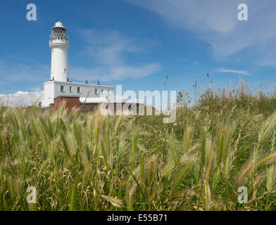 Flamborough Head lighthouse in East Yorkshire - Stock Photo