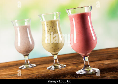 Exotic alcohol drinks set with fruits isolated on white background - Stock Photo