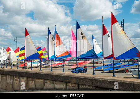 Colourful Sails on the Mumbles Seafront, Swansea, on a bright, sunny Summer day - Stock Photo