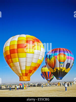 View of hot air balloons, Albuquerque, New Mexico, United States - Stock Photo