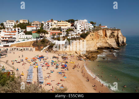 People on holiday on the beach, Carvoeiro, Algarve Portugal Europe - Stock Photo