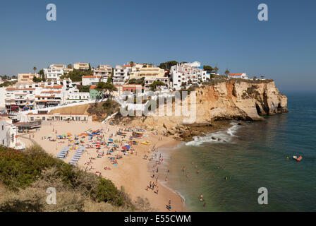 Carvoeiro town and beach in summer, Algarve, Portugal Europe - Stock Photo