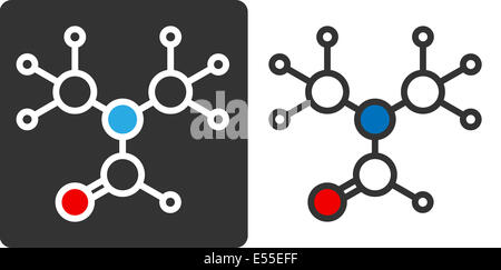 dimethylformamide (DMF) solvent molecule, flat icon style. Commonly used solvent in chemistry. Atoms shown as color - Stock Photo