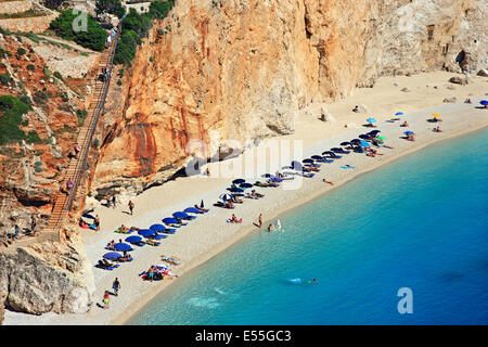 World famous Porto Katsiki beach, Lefkada (or 'Lefkas') island, Ionian Sea, Eptanisa ('Seven Islands'), Greece - Stock Photo