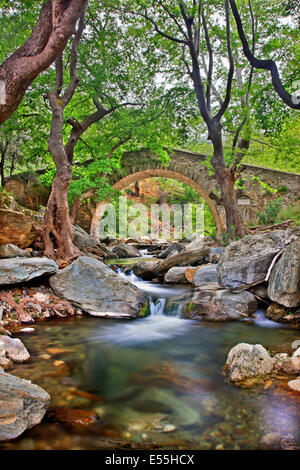 The old stone arched bridge right below Platanistos village, Evia ('Evoia') island, Central Greece. The locals call - Stock Photo