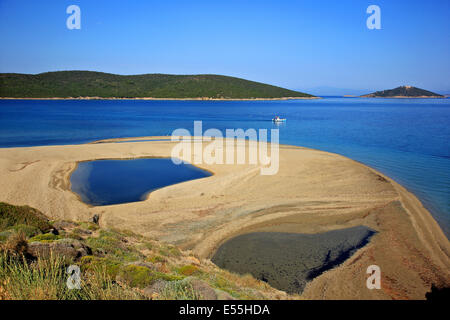 Chryssi Ammos ('Golden Sand') beach, close to Marmari town, Evia (or 'Evvoia') island, Central Greece. - Stock Photo