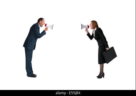 business concept conflict megaphone businessman and businesswoman isolated on white - Stock Photo