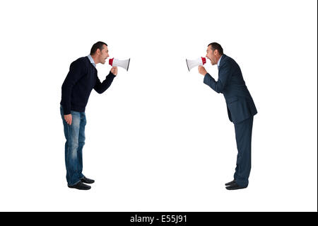business concept men shouting with megaphones isolated on white background - Stock Photo