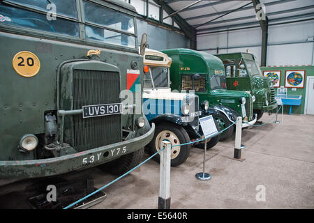 World War II - vintage  vehicles on display at the Lincolnshire Aviation Heritage Centre at East Kirkby - Stock Photo