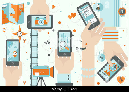 Flat design illustration concept of various mobile application usage in business, sport, social and lifestyle being - Stock Photo