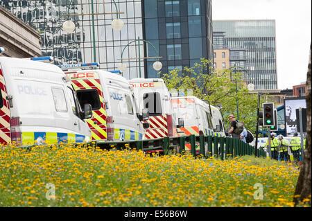 Police vehicles create a blockade in Broad Street Birmingham - Stock Photo