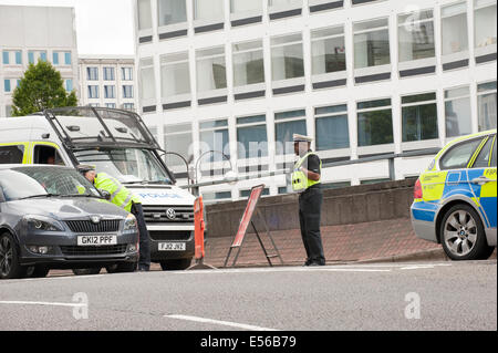 Police redirect traffic due to road closure in Birmingham city centre - Stock Photo