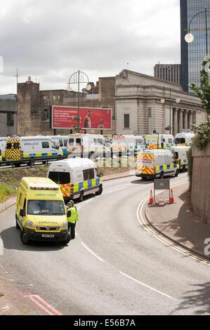 Ambulance and Police vehicles create a blockade in Broad Street Birmingham - Stock Photo