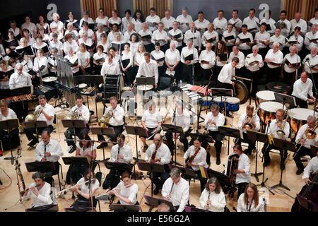 Boston Landmarks Orchestra  playing in recording studio, Boston, Massachusetts USA - Stock Photo