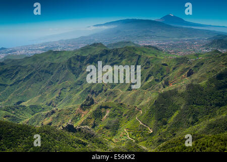 Teide volcano and Anaga Rural Park from 'Pico del Ingles' viewpoint. Tenerife, Canary Islands, Atlantic Ocean, Spain - Stock Photo