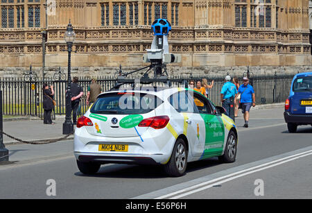 London, England, UK. Google Maps streetview car in Westminster, passing Parliament - Stock Photo