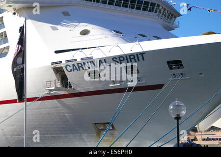 carnival spirit cruise ship moored berthed at Circular Quay,Sydney,Australia - Stock Photo