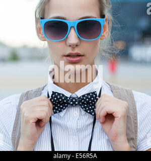 Closeup of trendy girl face - Stock Photo