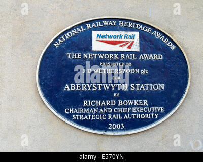 National Railway Heritage Awards plaque at the railway station in Aberythwyth presented to J D Wetherspoon Wales - Stock Photo