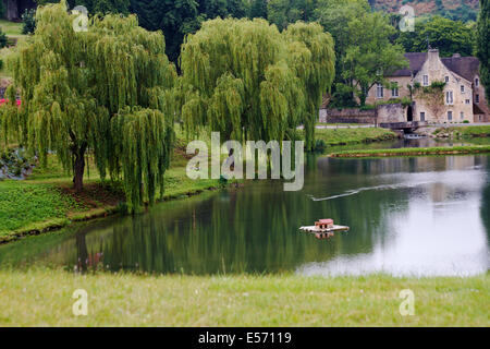 pond lake by castle Falaise, Calvados, Normandy  in July - Stock Photo