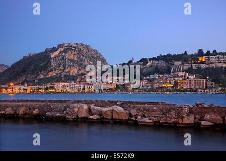 View of Nafplio town from the islet of Bourtzi castle, Argolis ('Argolida'), Peloponnese, Greece. - Stock Photo