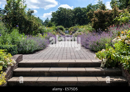 Beautiful Summer flower borders along a brick path at Wisley RHS Gardens, Surrey - Stock Photo