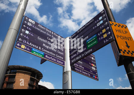 Multi-Directional street sign to different destinations.  Line Street Signpost and the Port of Liverpool Building, - Stock Photo