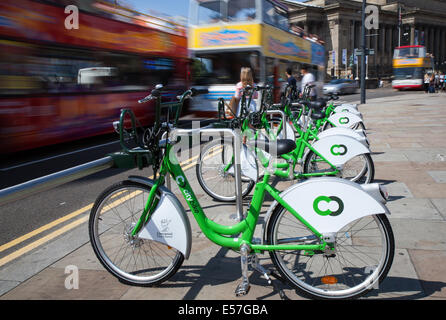 'City Bike' Lime Street, City Cycles for Hire, Liverpool, Merseyside, UK - Stock Photo