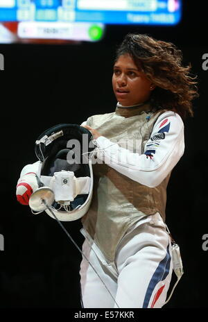 Kazan, Russia. 21st July, 2014. France's Corinne Maitrejean, in the women's team foil competition at the 2014 Fencing - Stock Photo