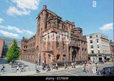 The historic late-Victorian neo-Gothic John Rylands Library building on Deansgate in Manchester which opened in - Stock Photo