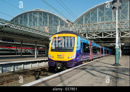 A First TransPennine ADtranz / Bombardier Express Class 170 Turbostar at the platform of Manchester Piccadilly Rail - Stock Photo