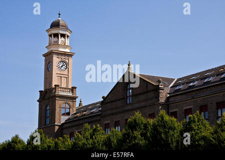Cox`s Stack jute mill 'The Camperdown Works 1800`s' is a Listed Building and now modern housing at Lochee in Dundee, - Stock Photo