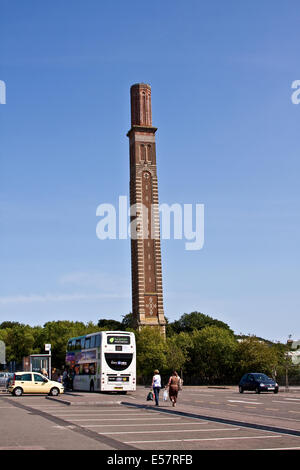 Shoppers boarding the National Express Bus at the Lochee Cox`s Stack in Dundee, UK - Stock Photo