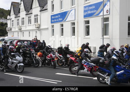 Motorcyclists arriving on the Isle of Man for the TT races, 2014. - Stock Photo