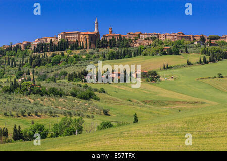 View on Pienza, a town and comune in the province of Siena, in the Val d'Orcia in Tuscany (central Italy), between - Stock Photo