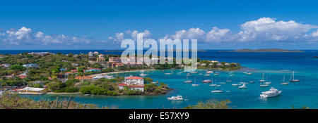 Town of Cruz Bay on the Caribbean Island of St John in the US Virgin Islands - Stock Photo