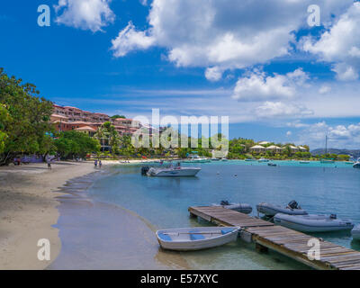 Waterfront and harbor of Cruz Bay on the Caribbean Island of St John in the US Virgin Islands - Stock Photo