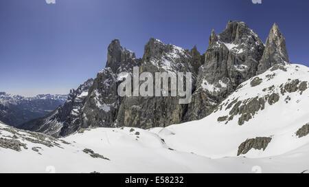 The Pala group, or Pale di San Martino, from Pradidali Hut, Dolomites, Trentino, Italy - Stock Photo
