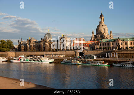 Banks of the Elbe River with Brühl's Terrace, Dresden Academy of Fine Arts, Frauenkirche Church, Church of our Lady - Stock Photo