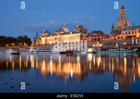 Bank of the Elbe River with Brühl's Terrace, Dresden Academy of Fine Arts, Frauenkirche Church, Church of our Lady - Stock Photo