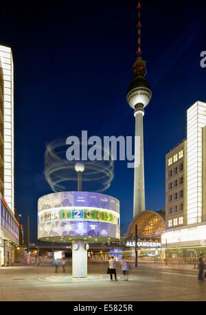 World clock and TV Tower, Alexanderplatz square, Mitte district, Berlin, Germany - Stock Photo