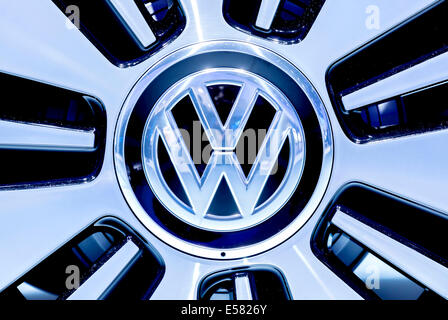 VW logo, Volkswagen AG, on a car rim, 65th International Motor Show IAA 2013, Frankfurt am Main, Hesse, Germany - Stock Photo