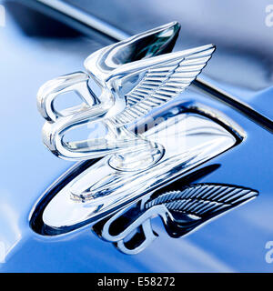 Hood ornament Flying B on a luxury vehicle of the British car manufacturer Bentley, 65th International Motor Show - Stock Photo